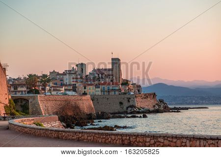 Antibes, France, august 2016 old city at sun rise