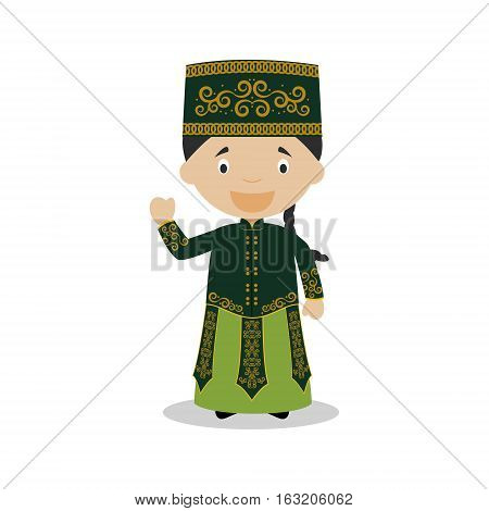 Character from Uzbekistan dressed in the traditional way Vector Illustration. Kids of the World Collection.