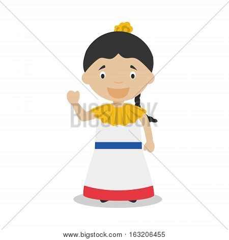 Character from Venezuela dressed in the traditional way Vector Illustration. Kids of the World Collection.