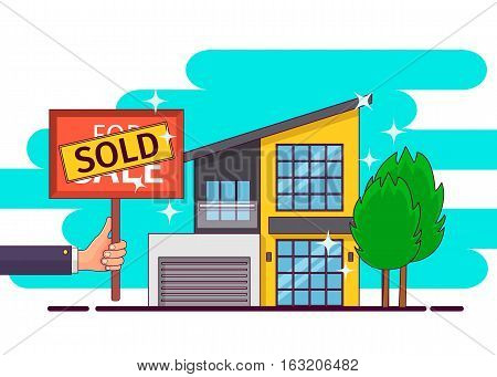 Real estate. Hand holding sold sign. Vector illustration