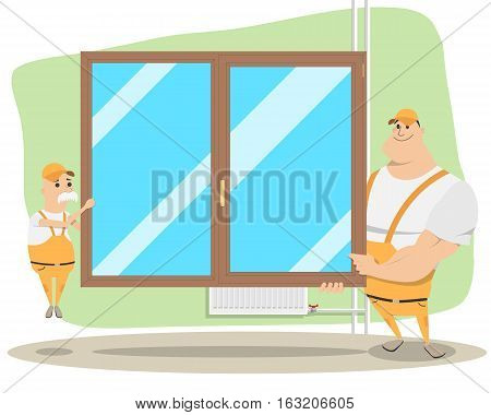 Father and son are engaged in the family business. Installation and replacement of windows. Vector illustration