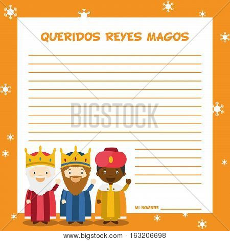 Three Wise Men letter template vector illustration for Christmas time in Spanish, with child characters.