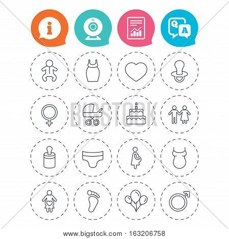 Baby and Maternity icons. Toddler, diapers and child footprint symbols. Heart, birthday cake and pacifier thin outline signs. Pregnant woman, couple and air balloons. Vector