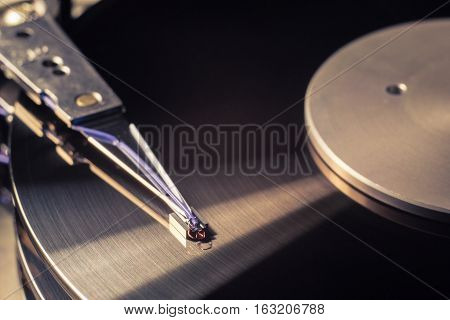 Beautiful reflection in the hard disk drive