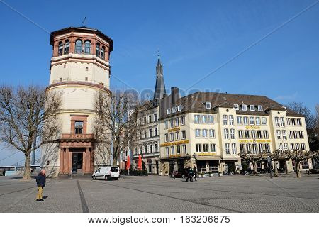 Dusseldorf, Germany - March 9,2016 : Dusseldorf is the capital city of the German state of North Rhine-Westphalia and the seventh most populous city in Germany.