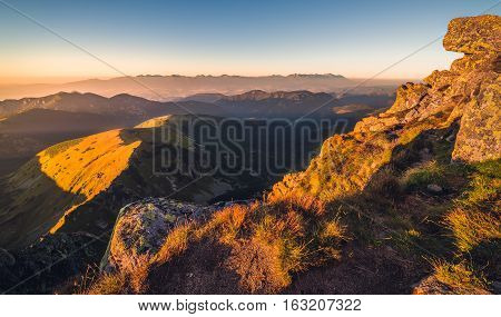 Mountain Landscape at Sunset. View from Mount Dumbier in Low Tatras, Slovakia. West and High Tatras Mountains in Background.