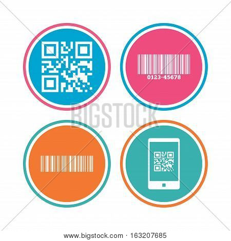 Bar and Qr code icons. Scan barcode in smartphone symbols. Colored circle buttons. Vector