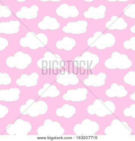 Pink clouds. Pink sky with clouds seamless pattern vector. White clouds seamless pattern design and baby art clouds seamless pattern.