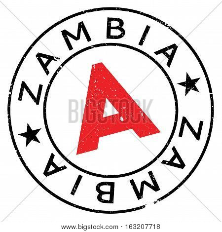 Zambia stamp. Grunge design with dust scratches. Effects can be easily removed for a clean, crisp look. Color is easily changed. rubber grunge
