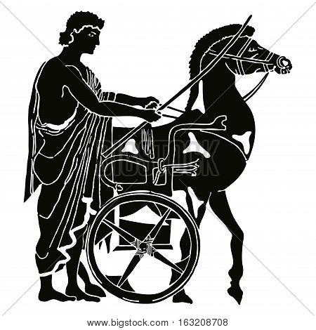 Greek style drawing. Warrior in tunic equips horses. Black pattern isolated on white background.