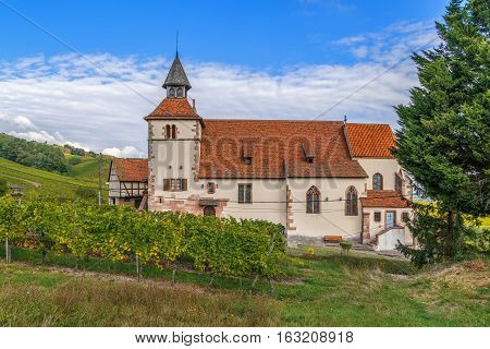 Saint Sebastien chapel on the Alsace wine road in Dambach la Ville Alsace