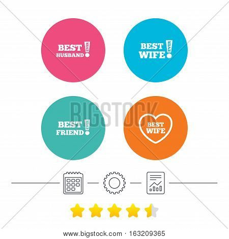 Best wife, husband and friend icons. Heart love signs. Awards with exclamation symbol. Calendar, cogwheel and report linear icons. Star vote ranking. Vector
