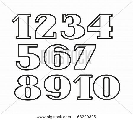 White numbers, black outline, white background, vector. White numbers with serifs and thin black contour on white background.