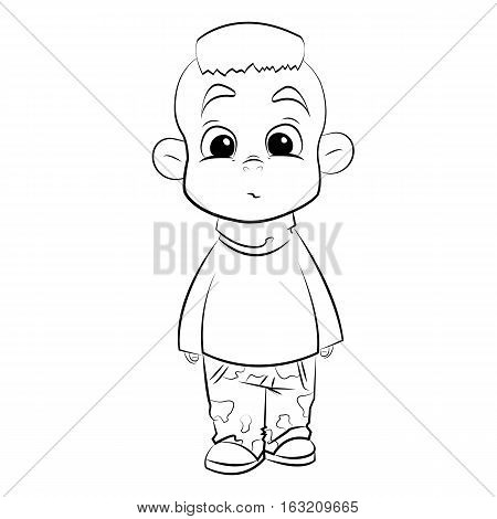 line art boy on millitary pants on white background