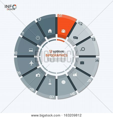 Vector Circle Chart Infographic Template With 12 Options For Presentations, Advertising, Layouts, An