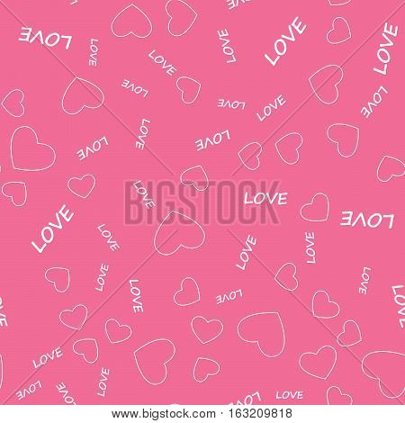 Continuous pattern, background for printing. Beautiful cute seamless pattern with hearts and text. Vector in flat style.