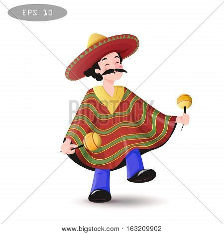Cartoon Mexican man in a sombrero and poncho with maracases