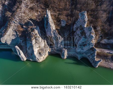 Aeriall View Of Rock Phenomenon The Wonderful Rocks In Bulgaria. Chudnite Skali