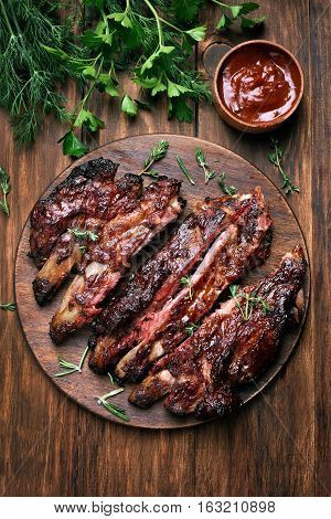Grilled sliced barbecue pork ribs top view