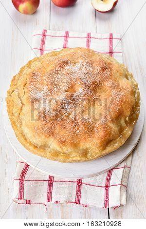 Apple pie on white wooden background fruit baking