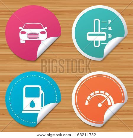Round stickers or website banners. Transport icons. Car tachometer and automatic transmission symbols. Petrol or Gas station sign. Circle badges with bended corner. Vector