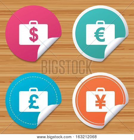 Round stickers or website banners. Businessman case icons. Cash money diplomat signs. Dollar, euro and pound symbols. Circle badges with bended corner. Vector