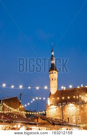 Traditional Christmas Market On Town Hall Square - Raekoja Plats In Tallinn, Estonia. Famous Landmark