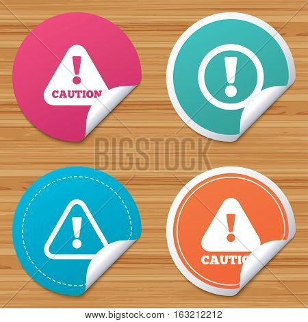 Round stickers or website banners. Attention caution icons. Hazard warning symbols. Exclamation sign. Circle badges with bended corner. Vector