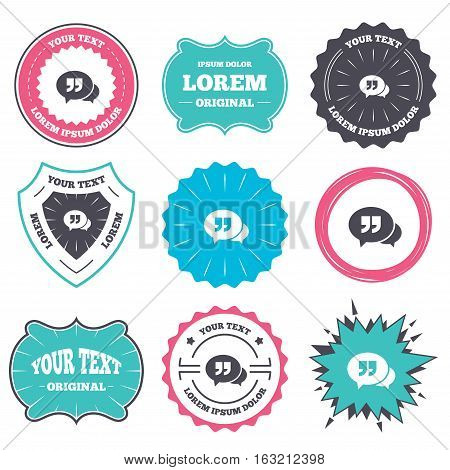 Label and badge templates. Chat Quote sign icon. Quotation mark symbol. Double quotes at the end of words. Retro style banners, emblems. Vector