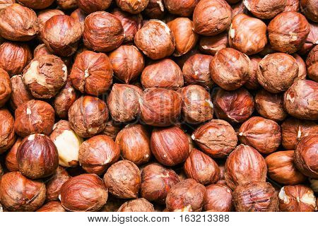 hazelnuts or cobnuts background, backdrop or texture