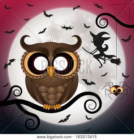 Halloween holiday crazy owl with big eyes