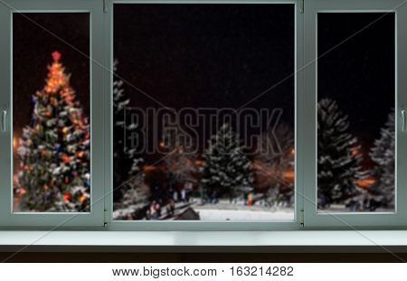 Christmas background outside of a large window
