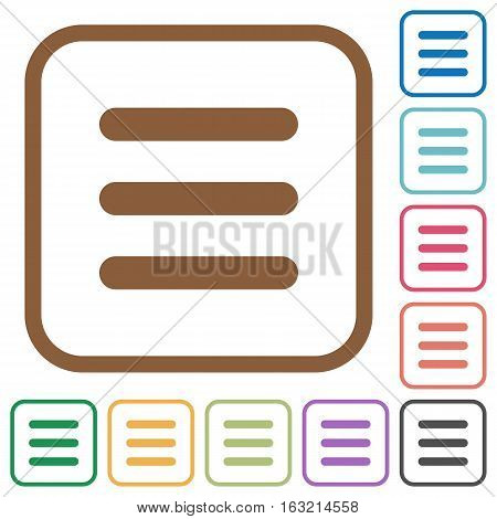 Menu simple icons in color rounded square frames on white background