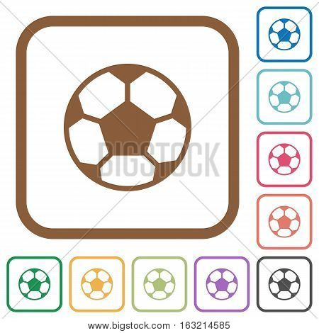Soccer ball simple icons in color rounded square frames on white background
