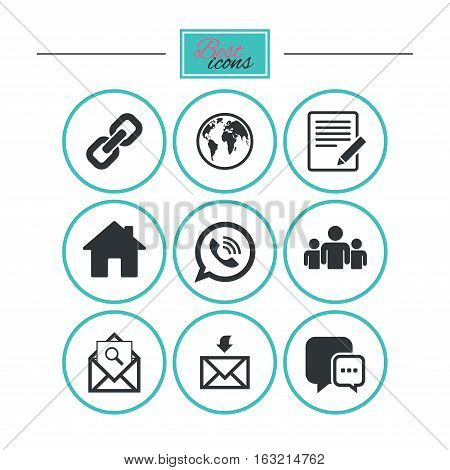 Communication icons. Contact, mail signs. E-mail, call phone and group symbols. Round flat buttons with icons. Vector