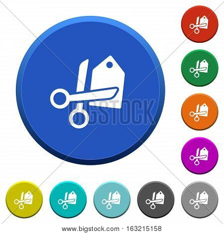Price cut round color beveled buttons with smooth surfaces and flat white icons