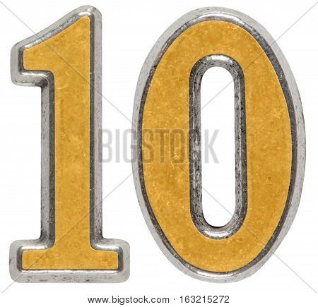 Metal numeral 10 ten isolated on white background