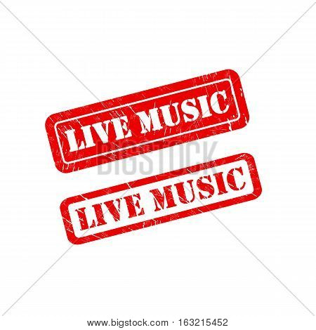 LIVE MUSIC stamp vector grunge design with scratches. Color is easily changed.