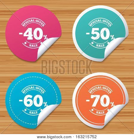 Round stickers or website banners. Sale discount icons. Special offer stamp price signs. 40, 50, 60 and 70 percent off reduction symbols. Circle badges with bended corner. Vector