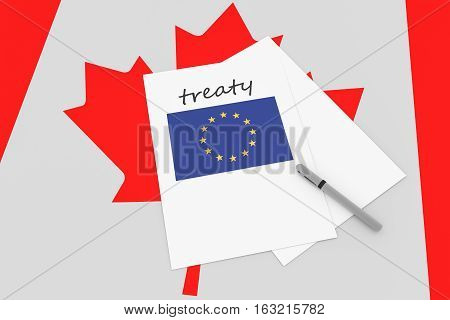 Canadian Politics: EU Treaty Note With Pen On Canada Flag 3d illustration