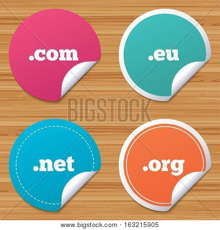 Round stickers or website banners. Top-level internet domain icons. Com, Eu, Net and Org symbols. Unique DNS names. Circle badges with bended corner. Vector