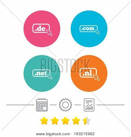 Top-level internet domain icons. De, Com, Net and Nl symbols with cursor pointer. Unique national DNS names. Calendar, cogwheel and report linear icons. Star vote ranking. Vector