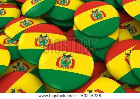 Bolivia Badges Background - Pile Of Bolivian Flag Buttons 3D Illustration