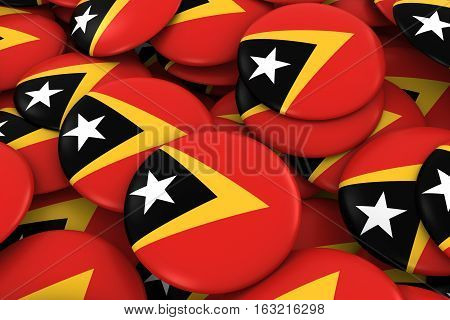 East Timor Badges Background - Pile Of Timorese Flag Buttons 3D Illustration