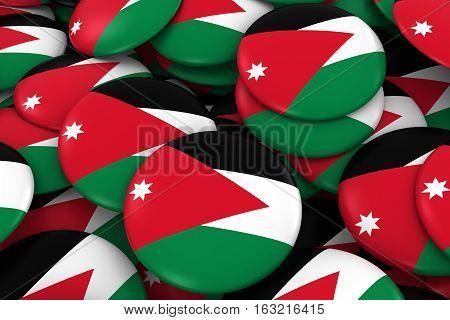 Jordan Badges Background - Pile Of Jordanian Flag Buttons 3D Illustration