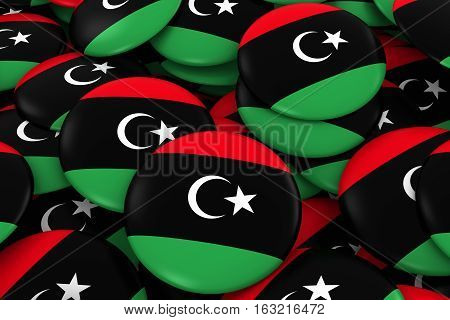 Libya Badges Background - Pile Of Libyan Flag Buttons 3D Illustration