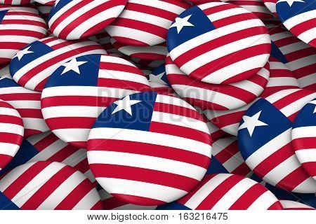 Liberia Badges Background - Pile Of Liberian Flag Buttons 3D Illustration