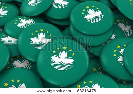 Macau Badges Background - Pile Of Macanese Flag Buttons 3D Illustration