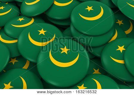 Mauritania Badges Background - Pile Of Mauritanian Flag Buttons 3D Illustration