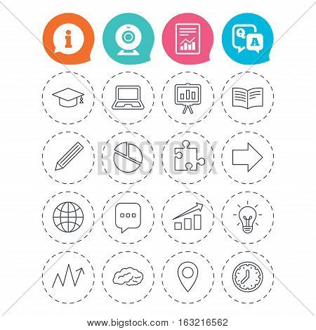 Education icons. Graduation cap, pencil and book symbols. Notebook, presentation and speech bubble thin outline signs. Pie chart, piece of puzzle and arrow. Information, question and answer icons